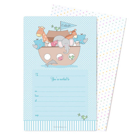 Luxury blue Noah's Ark party invitations