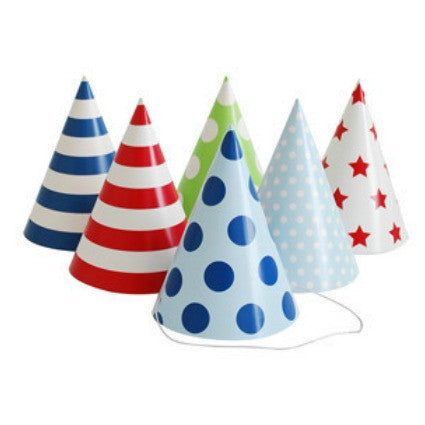 party hats blue spots and stripes