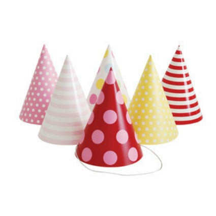 party hats pink spots and stripes