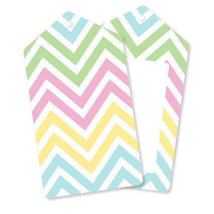 pastels chevron gift tags