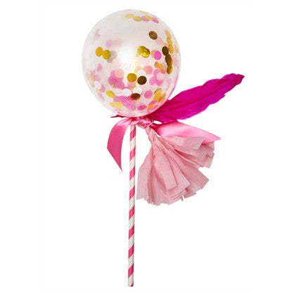pink and gold balloon wand