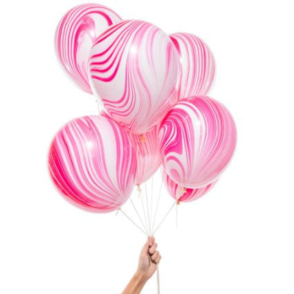 pink and white marble party balloons