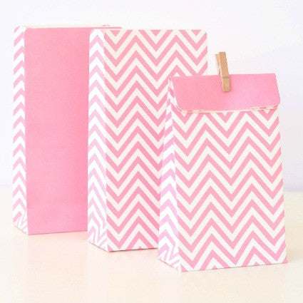 pink chevron party bags