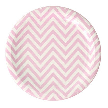 large pink chevron party plate