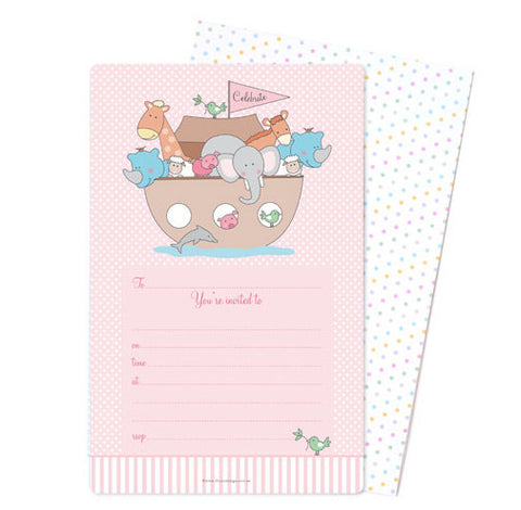 Pink Noah's Ark party invitations