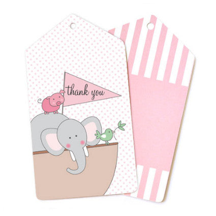 pink noah's ark gift tags