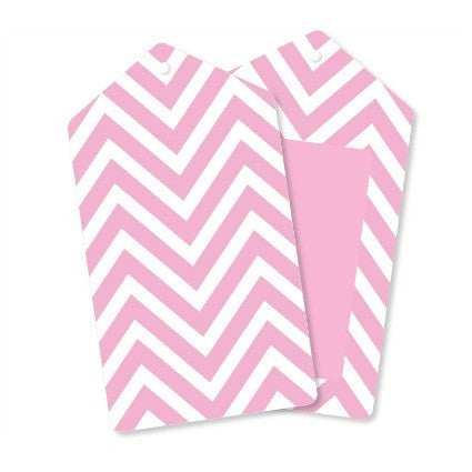pink chevron party tags