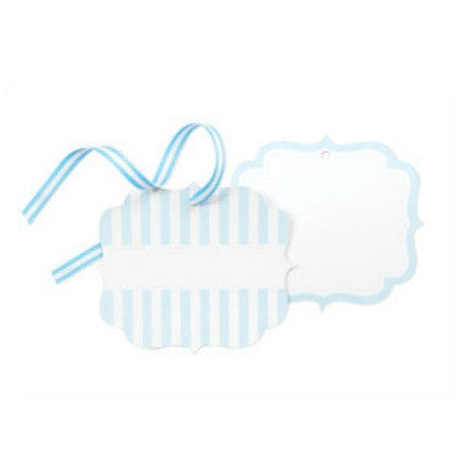 Powder blue stripe tags