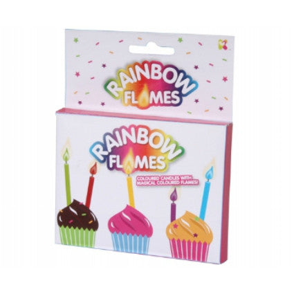 Rainbow flame cake candles