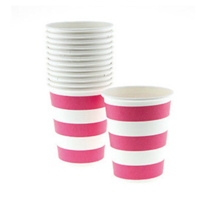 Raspberry stripe cups
