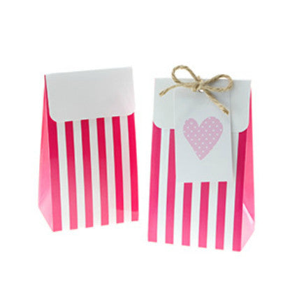 raspberry stripe favour bags