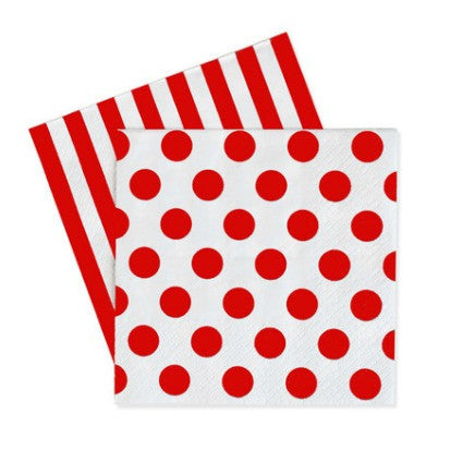 cherry red spots and stripes napkins