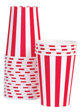 Cherry red stripe cups