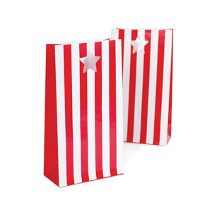 red and white stripe party bags