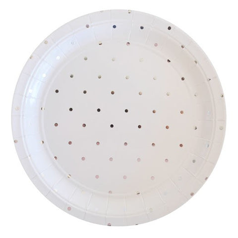large silver dots plates
