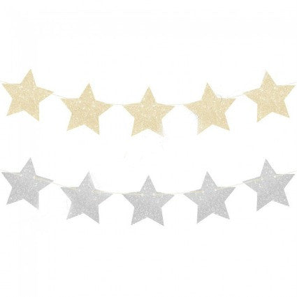silver and god stars garland