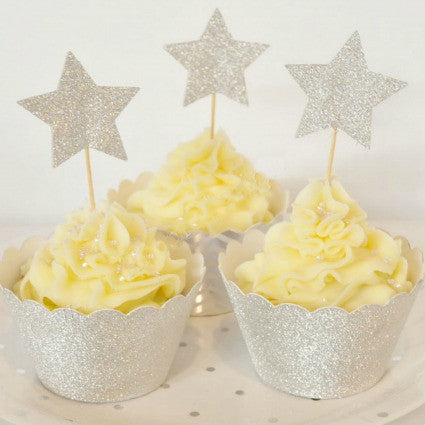 silver and gold glitter star cupcake toppers