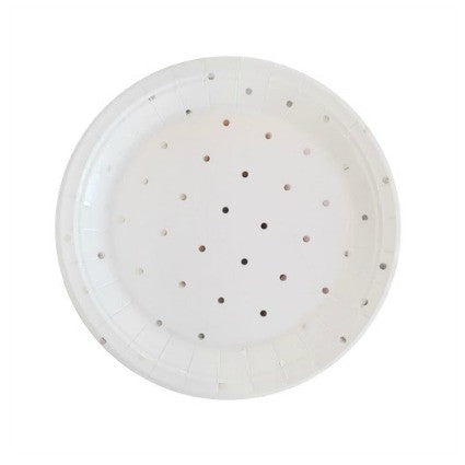 silver dots party plates small
