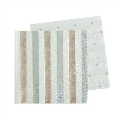 silver stripe and dots napkins