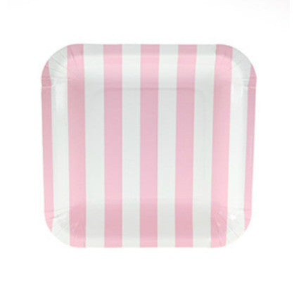 square pink stripe party plates