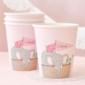 Pink Noah's Ark party cups