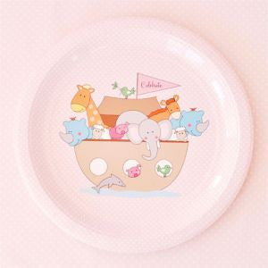 Pink Noah's Ark party plates