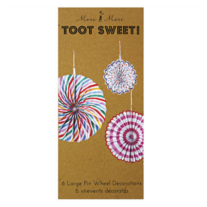 Toot Sweet hanging pinwheel decorations