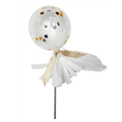 white and gold confetti balloon wand