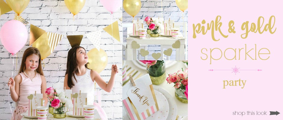 pink and gold children's sparkle party