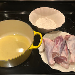 The ingredients to seal the lamb shanks