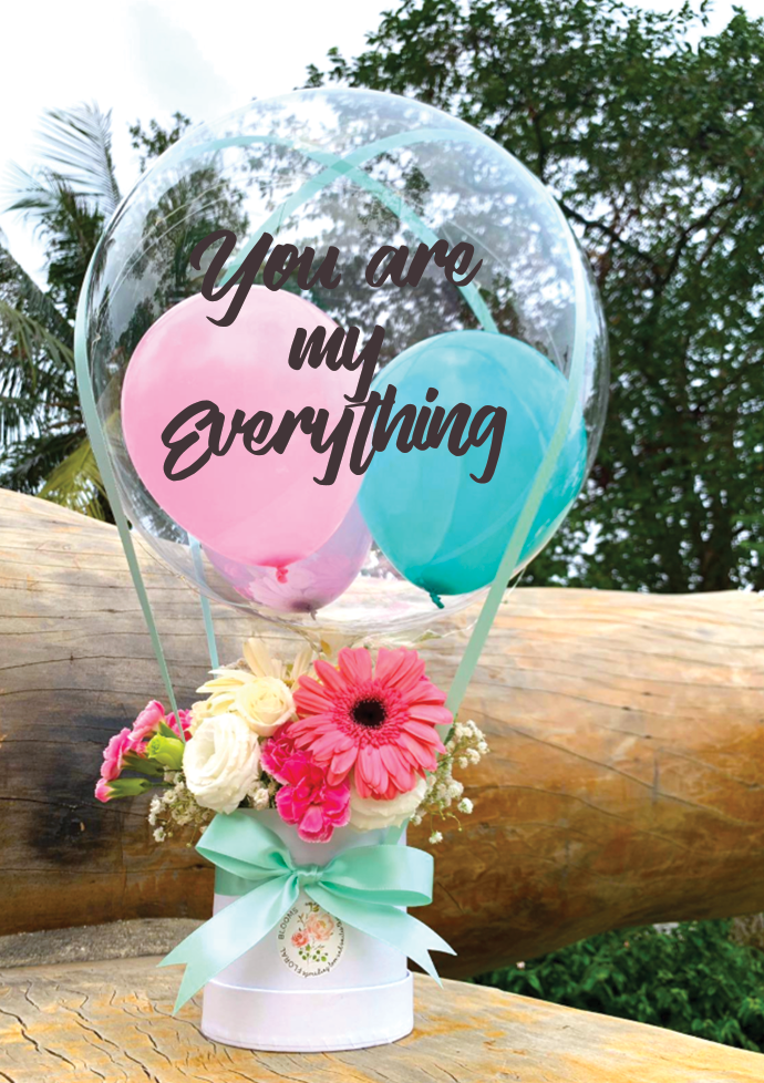 hot air balloon bouquet valentines day gift surprise delivery flower bouquets happy birthday anniversary get well soon hamper boyfriend girlfriend gift idea