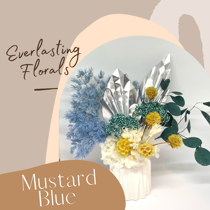 Preserved Floral (Small) - Mustard Blue