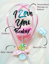 Load image into Gallery viewer, hot air balloon bouquet valentines day mothers day gift surprise delivery preserved flower rose bouquets happy birthday anniversary get well soon hamper boyfriend girlfriend gift idea