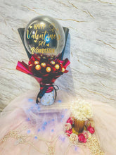 Load image into Gallery viewer, chocolate ferrero rocher hot air balloon bouquet everlasting preserved flower anniversary red rose pink roses wedding gift mother's day