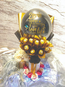 chocolate ferrero rocher hot air balloon bouquet everlasting preserved flower anniversary red rose pink roses wedding gift mother's day
