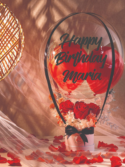 floral hot air balloon bouquet everlasting preserved flower anniversary red rose pink roses wedding gift mother's day