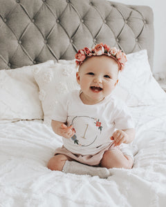 Child's Wreath Floral Embroidery Number Tee