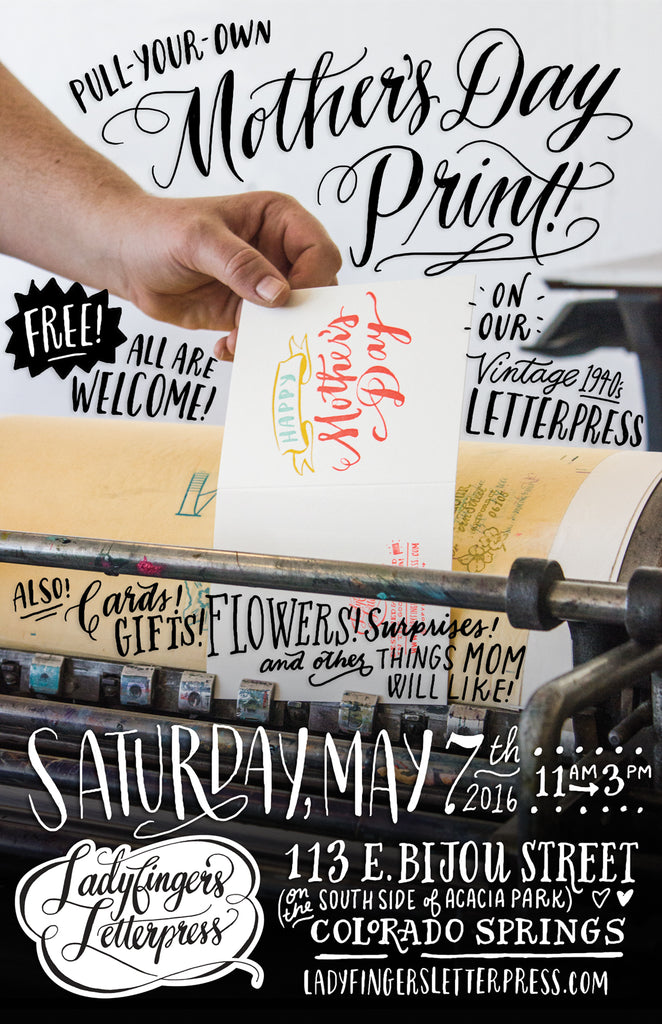 Mother's Day Event at Ladyfingers Letterpress