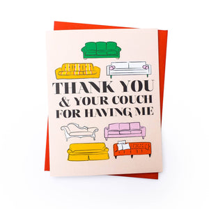 Couch Hosting Thank You Card by Rhino Parade