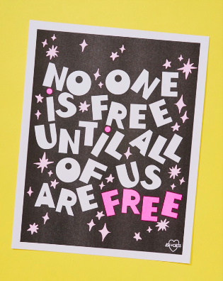 No One Is Free Risograph Print by Ash + Chess