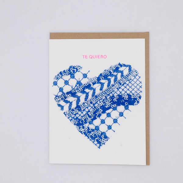 Te Quiero Blue Lace Heart Card by Loteria Press