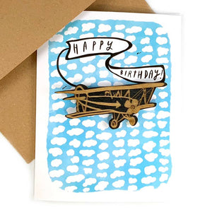 Happy Birthday Card with Airplane Magnet by SnowMade