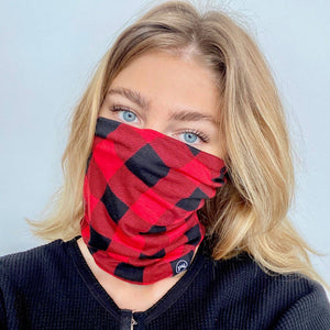 Red and Black Buffalo Check Beanie/Mask by Pretty Simple