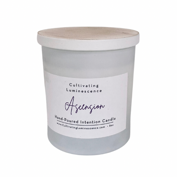 Ascension Candle with Rose Quartz by Cultivating Luminescence