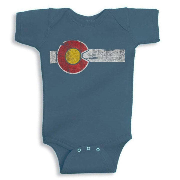 Blue Colorado Flag Baby Onesie by YoColorado