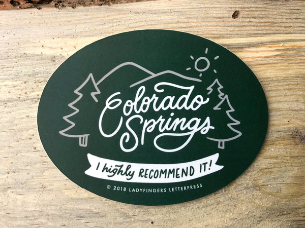 Colorado springs i highly recommend it sticker ladyfingers letterpress