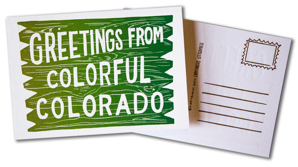 Greetings From Colorful Colorado Postcard (Green Rainbow Roll)