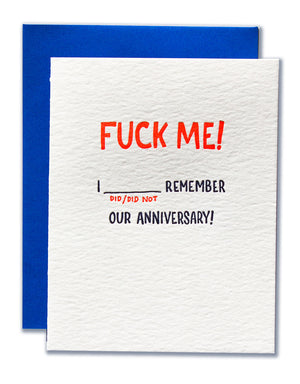 Fuck Me! I Did/Did Not Remember Our Anniversary!