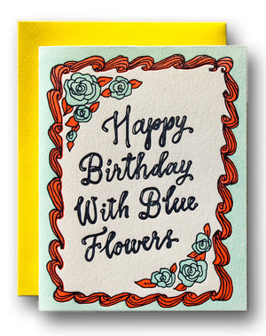 Happy Birthday With Blue Flowers