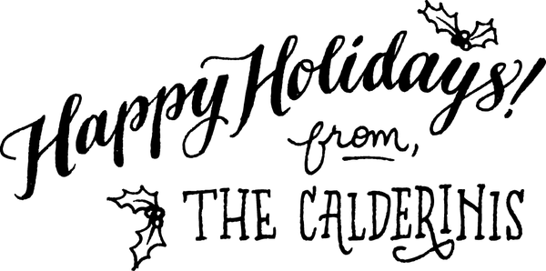 Happy Holidays Interior Greeting Rubber Stamp